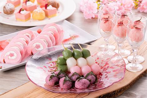 桜餅と春色デザート各種